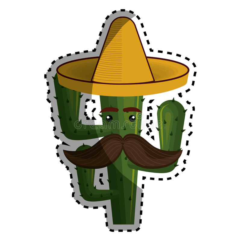 Sticker animated cartoon cactus with mexican hat and moustache royalty free illustration