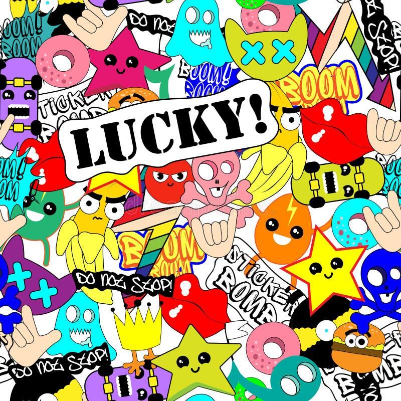 Sticker art. Bright stickers colorful background seamless pattern stock illustration