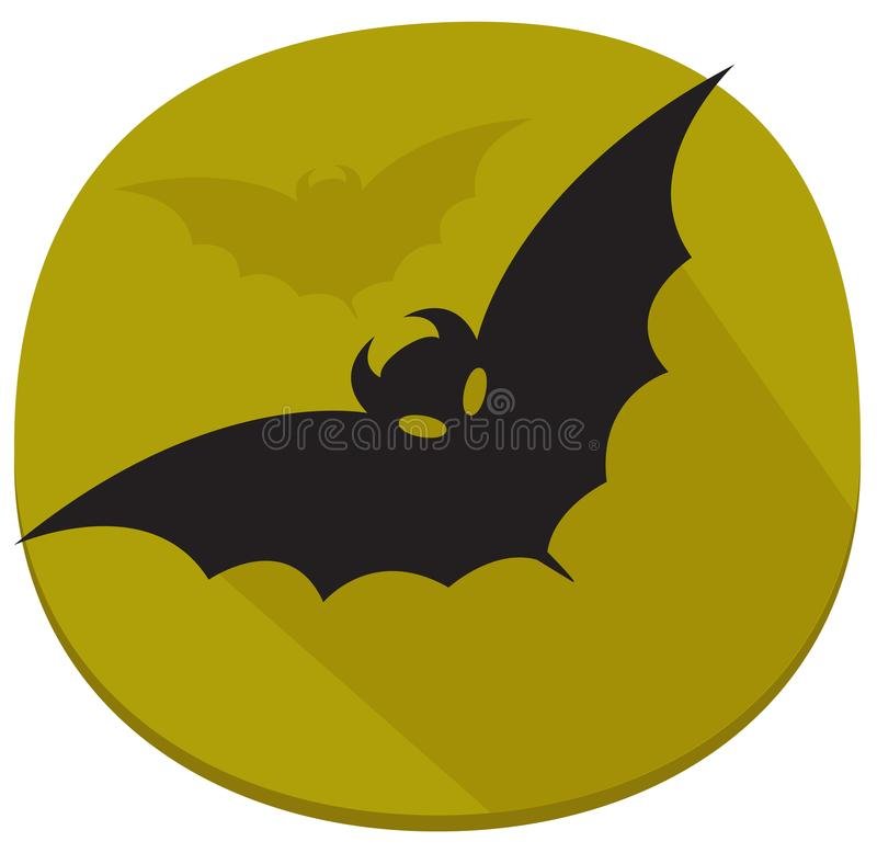 Sticker with bat. Green and black halloween sticker royalty free illustration