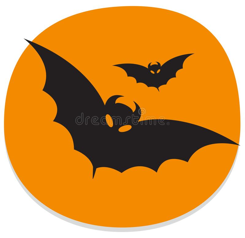 Sticker with bats. Orange and black halloween sticker royalty free illustration