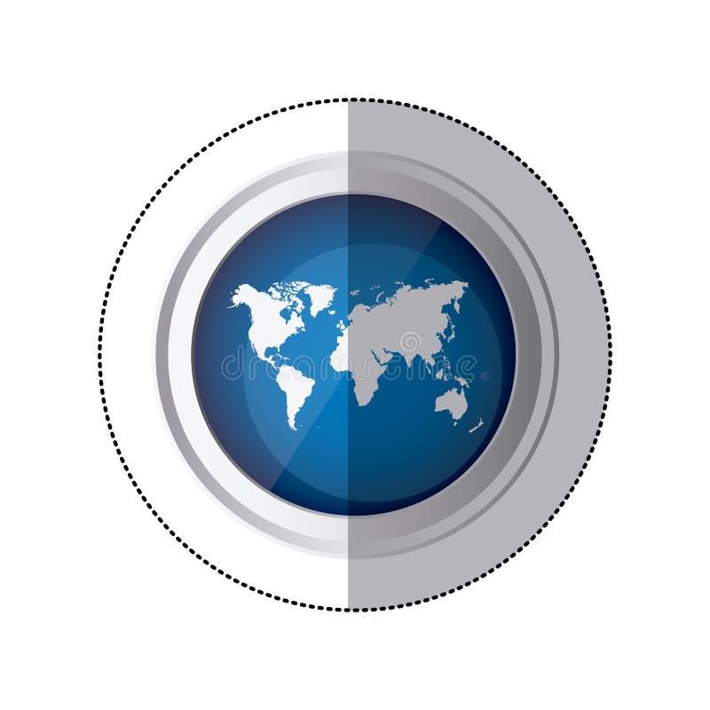 sticker blauwe cirkelknoop met de kaart van de silhouetwereld stock illustratie