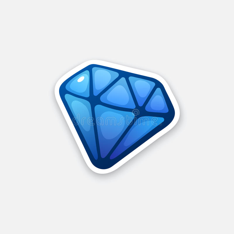 Sticker blauwe diamant royalty-vrije illustratie