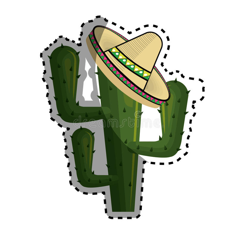 Sticker cactus with mexican hat with thorns. Vector illustration royalty free illustration