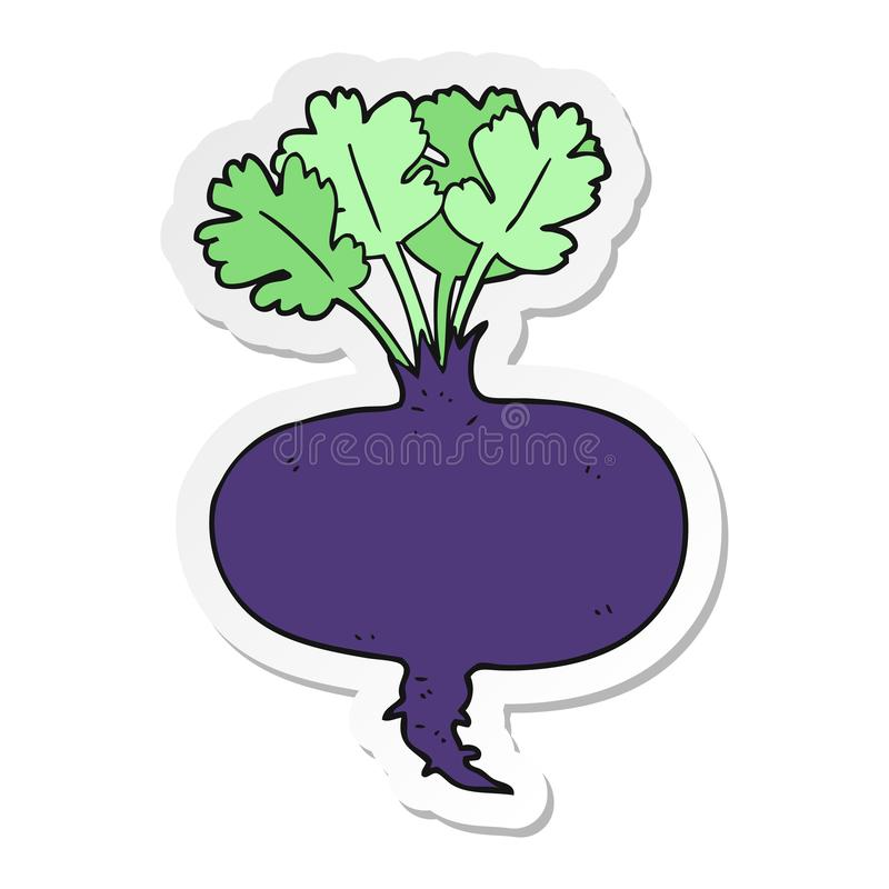 Sticker of a cartoon beetroot. A creative illustrated sticker of a cartoon beetroot royalty free illustration