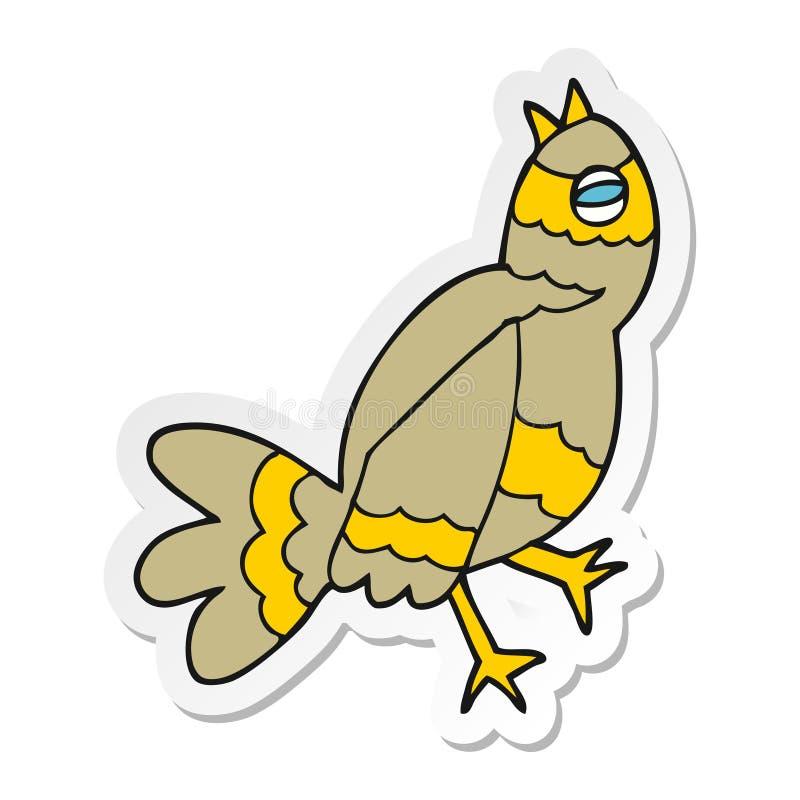 Sticker of a cartoon bird. A creative sticker of a cartoon bird royalty free illustration