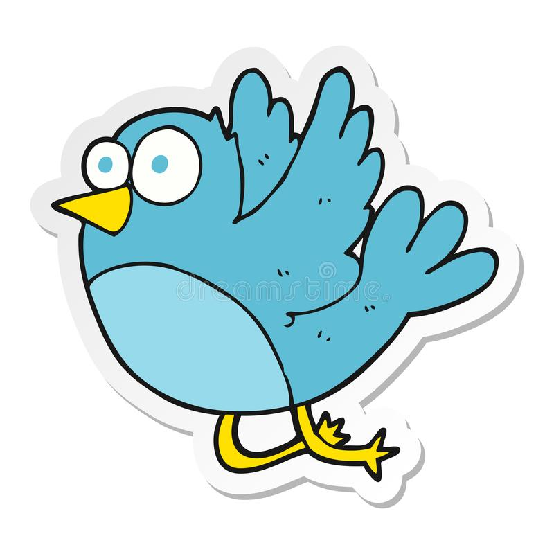 Sticker of a cartoon bird. A creative illustrated sticker of a cartoon bird stock illustration