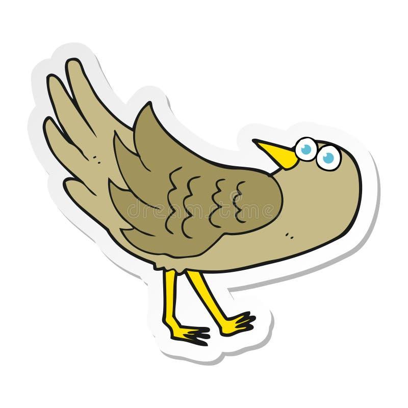 Sticker of a cartoon bird. A creative illustrated sticker of a cartoon bird royalty free illustration