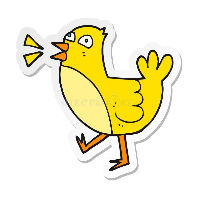 Sticker of a cartoon bird. Illustrated sticker of a cartoon bird stock illustration