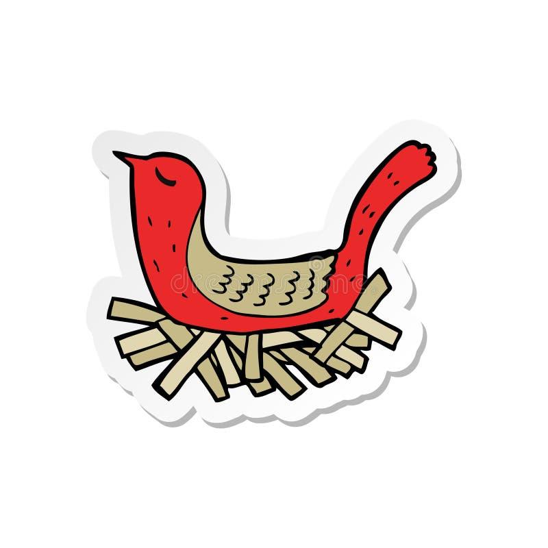 Sticker of a cartoon bird on nest. A creative sticker of a cartoon bird on nest stock illustration