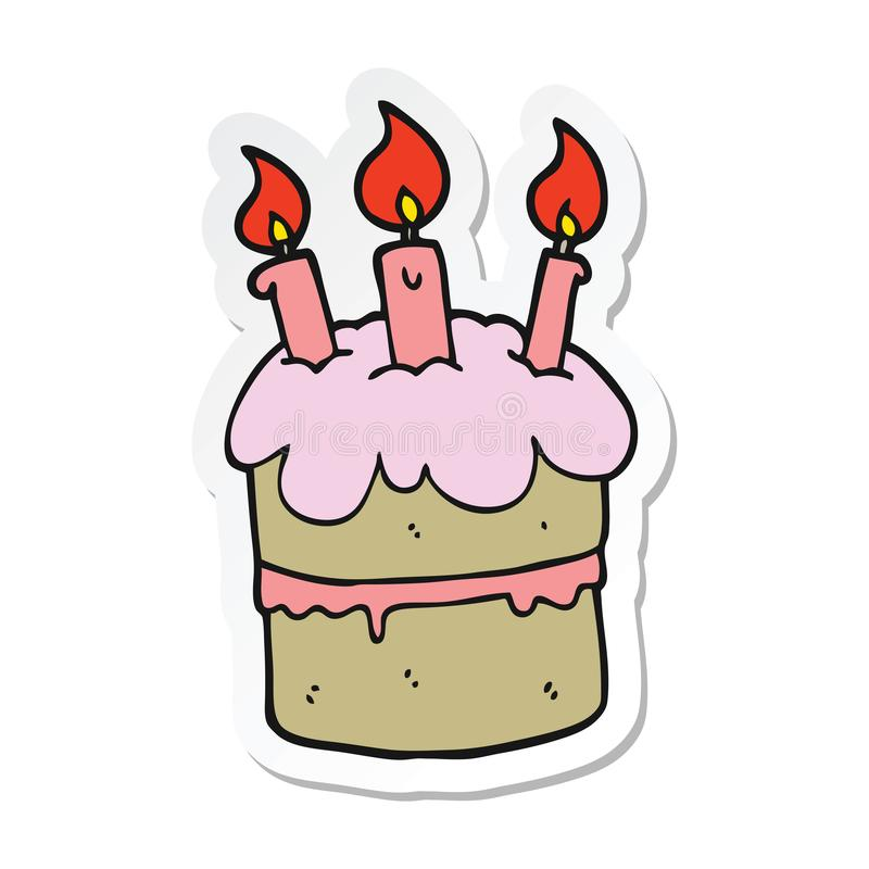 Superb Birthday Cake Food Cute Cartoon Sticker Stick Icon Decal Label Funny Birthday Cards Online Overcheapnameinfo