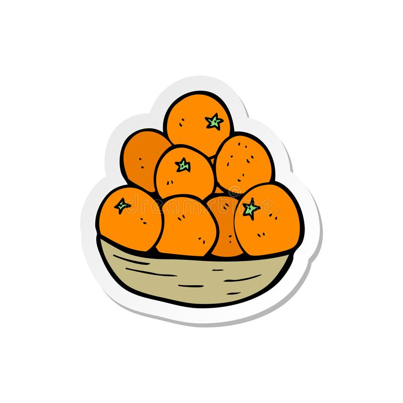 Sticker Of A Cartoon Bowl Of Oranges Stock Vector Illustration Of Drawing Hand 149297696