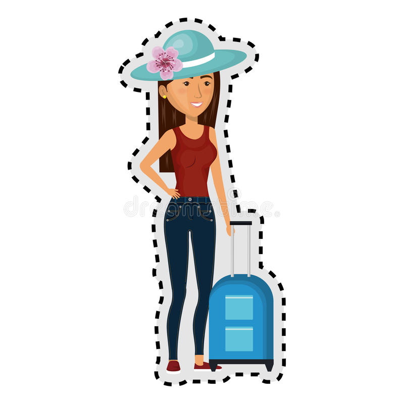 Sticker cartoon brunette woman with travel briefcases and hat lace royalty free illustration