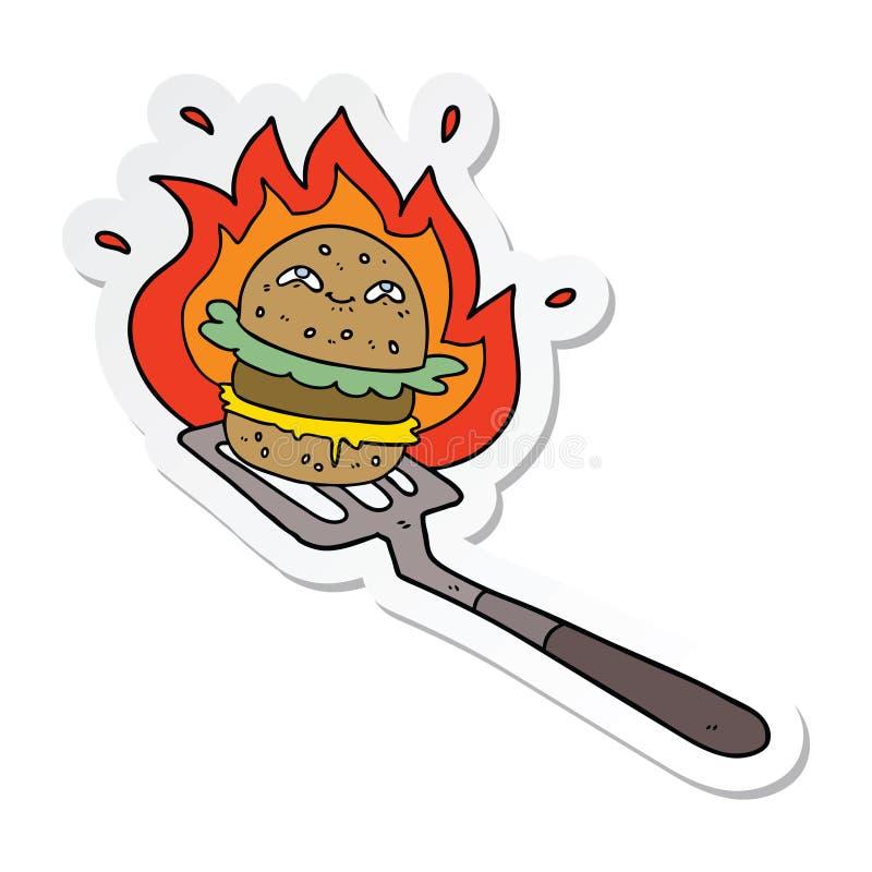 Sticker of a cartoon burger cooking. A creative illustrated sticker of a cartoon burger cooking vector illustration