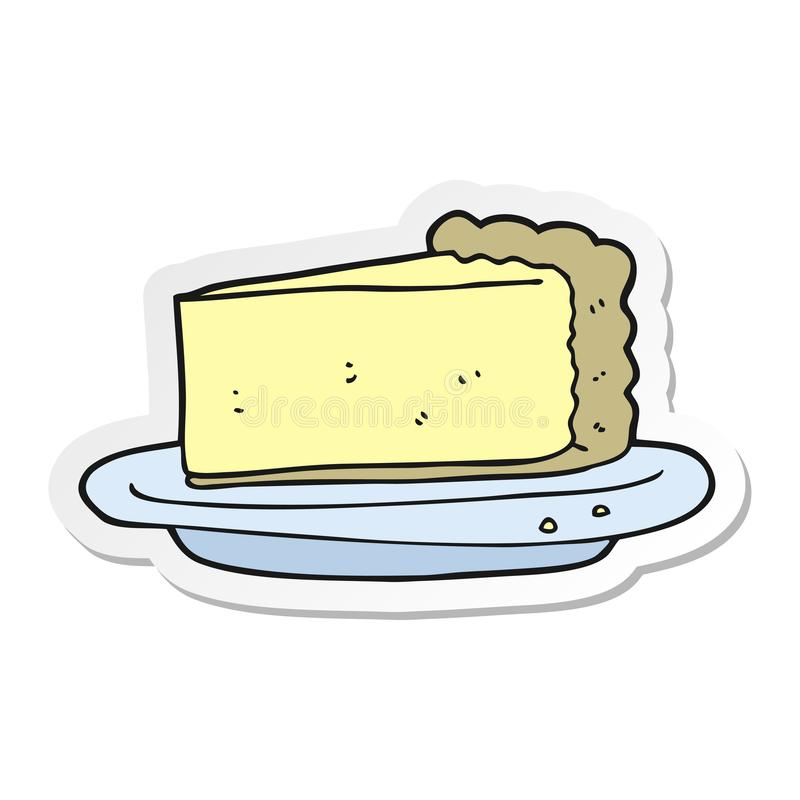 Sticker of a cartoon cheesecake. Illustrated sticker of a cartoon cheesecake vector illustration