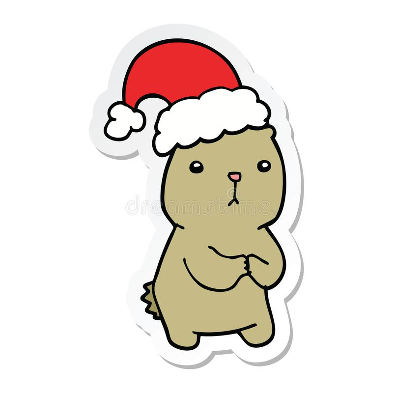 sticker of a cartoon christmas bear worrying vector illustration
