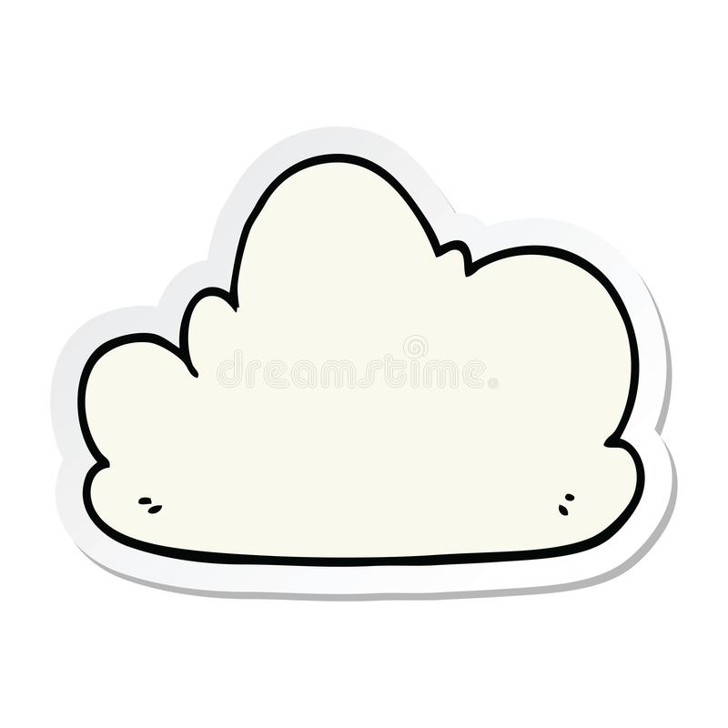 sticker of a cartoon cloud royalty free illustration