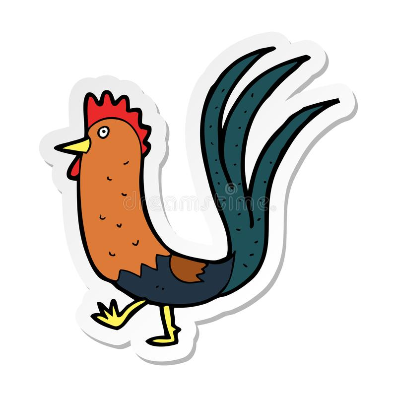 Sticker of a cartoon cockerel. A creative illustrated sticker of a cartoon cockerel vector illustration