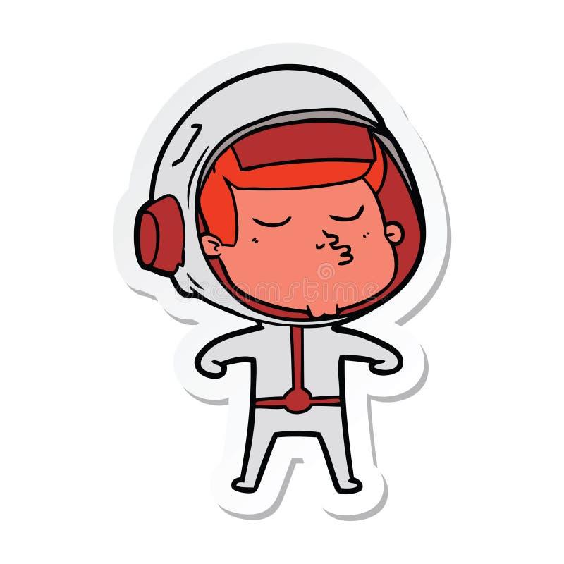 Sticker of a cartoon confident astronaut. Illustrated sticker of a cartoon confident astronaut stock illustration