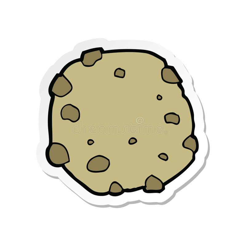 Sticker of a cartoon cookie. A creative illustrated sticker of a cartoon cookie stock illustration