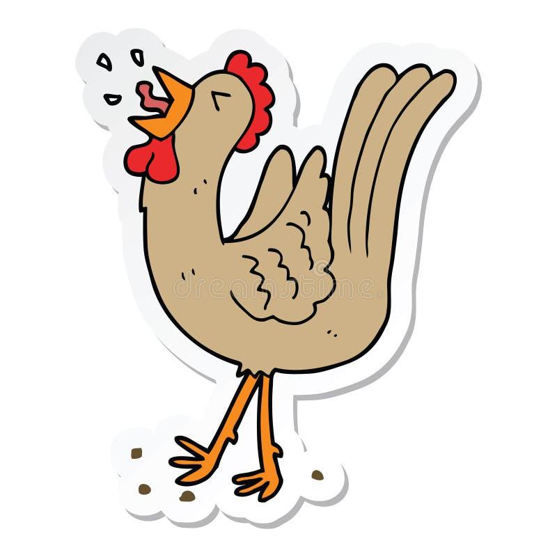 Sticker of a cartoon crowing cockerel. A creative illustrated sticker of a cartoon crowing cockerel royalty free illustration