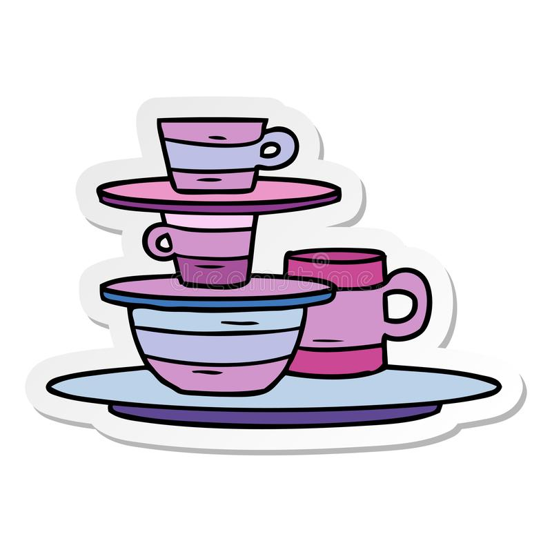 Sticker cartoon doodle of colourful bowls and plates. A creative illustrated sticker cartoon doodle of colourful bowls and plates stock illustration