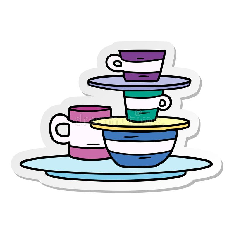 Sticker cartoon doodle of colourful bowls and plates. A creative illustrated sticker cartoon doodle of colourful bowls and plates royalty free illustration
