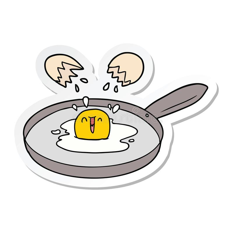 Sticker of a cartoon egg frying. A creative illustrated sticker of a cartoon egg frying vector illustration