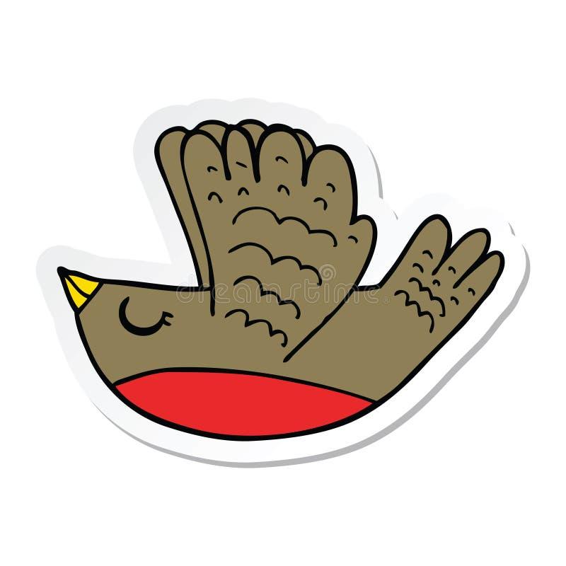 Sticker of a cartoon flying bird. A creative illustrated sticker of a cartoon flying bird vector illustration