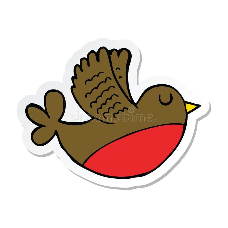 sticker of a cartoon flying bird vector illustration