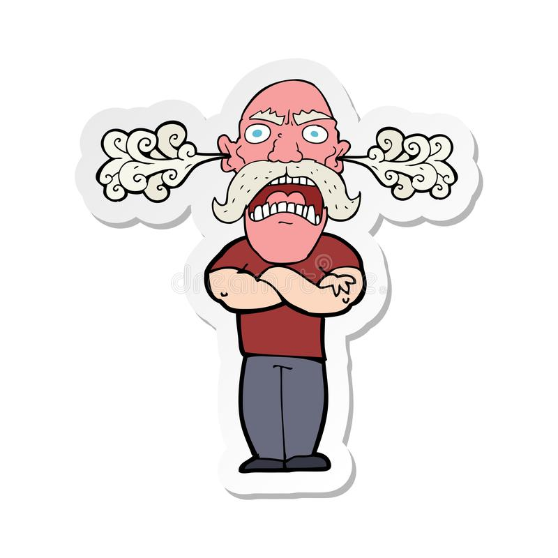 Sticker of a cartoon furious man with red face. A creative illustrated sticker of a cartoon furious man with red face stock illustration