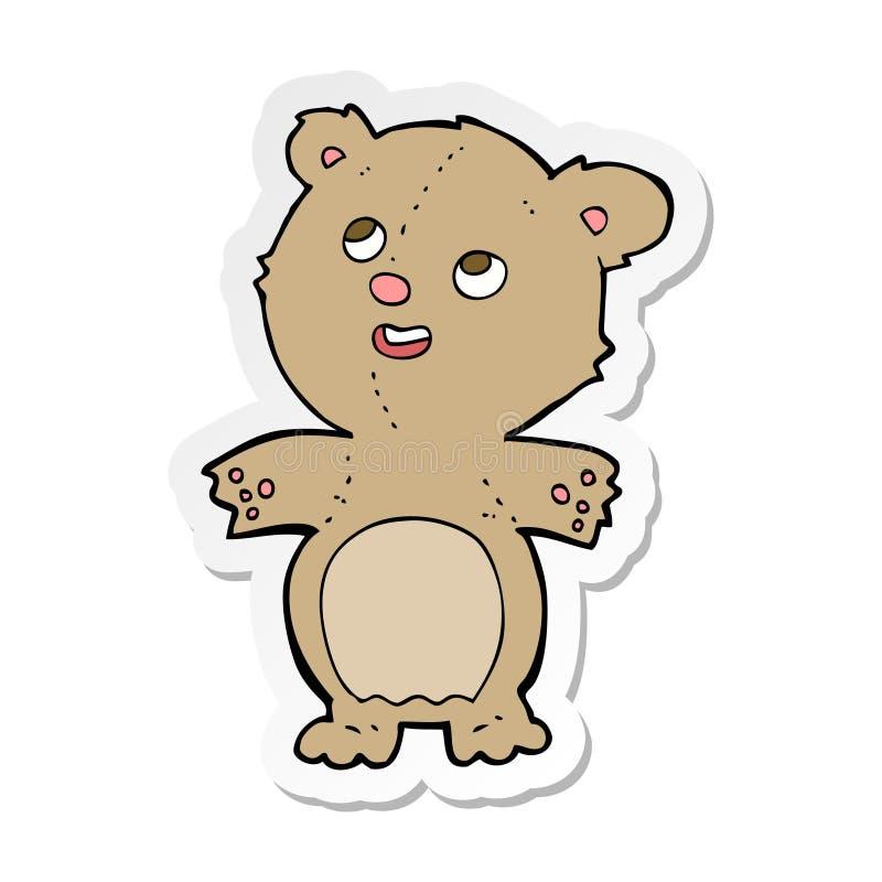 Sticker of a cartoon happy little teddy bear. A creative illustrated sticker of a cartoon happy little teddy bear stock illustration