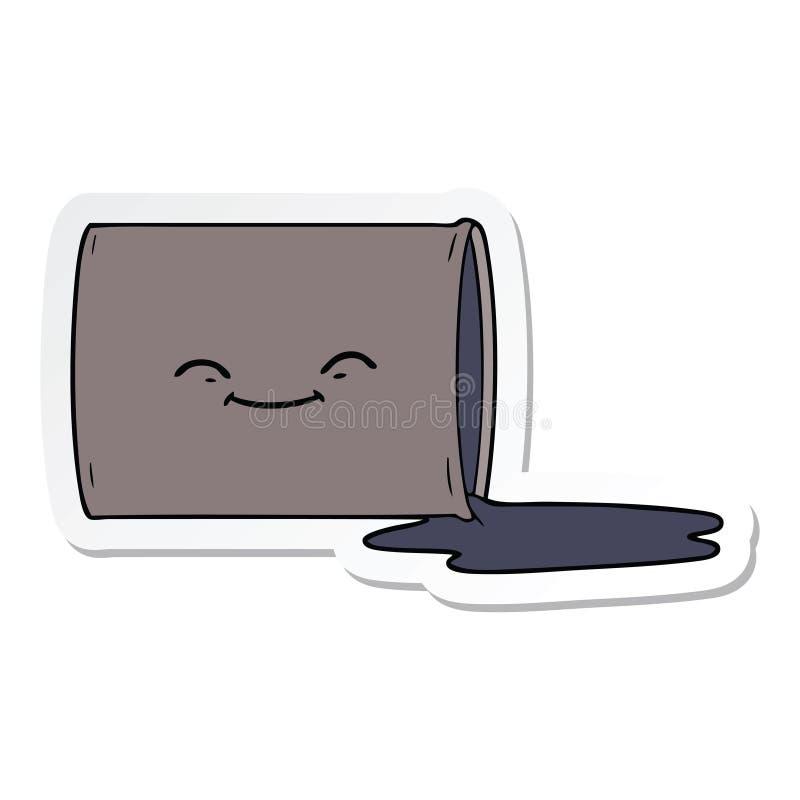 Sticker of a cartoon happy oil drum. A creative illustrated sticker of a cartoon happy oil drum vector illustration