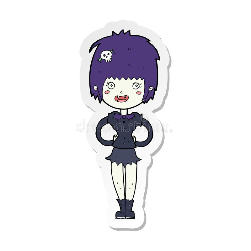 sticker of a cartoon happy vampire girl stock illustration