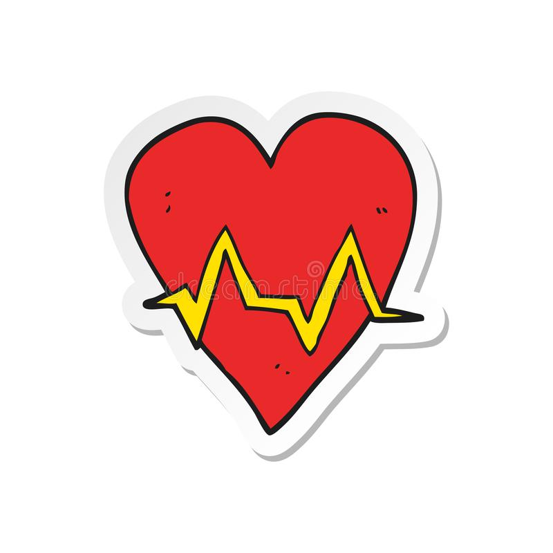 sticker of a cartoon heart rate pulse symbol stock illustration