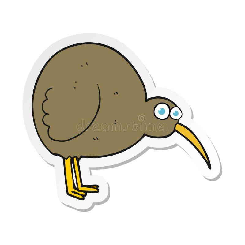 Sticker of a cartoon kiwi bird. A creative illustrated sticker of a cartoon kiwi bird stock illustration