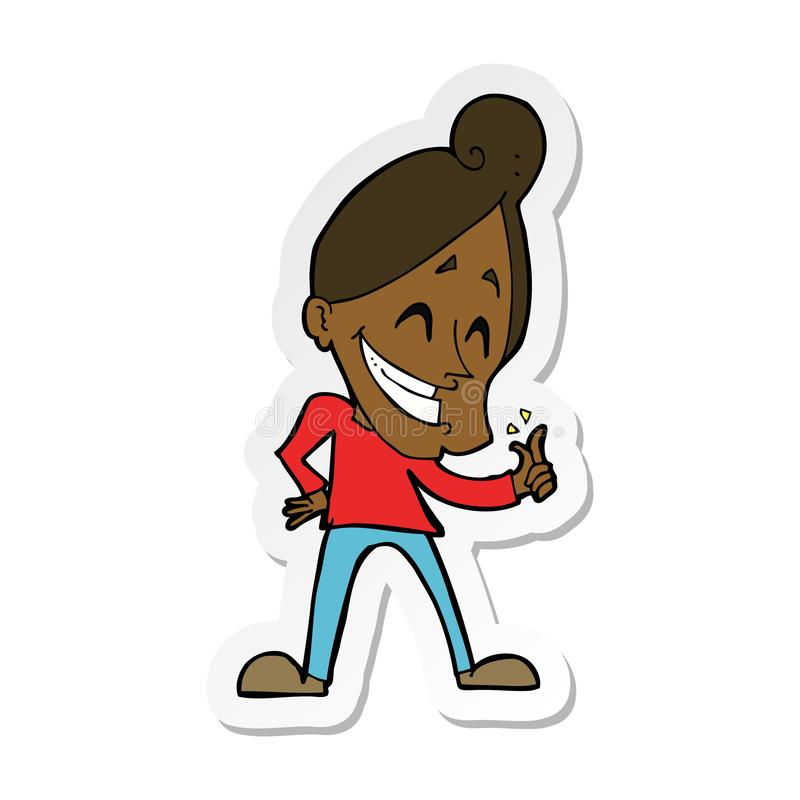 Sticker of a cartoon man snapping fingers. A creative sticker of a cartoon man snapping fingers royalty free illustration