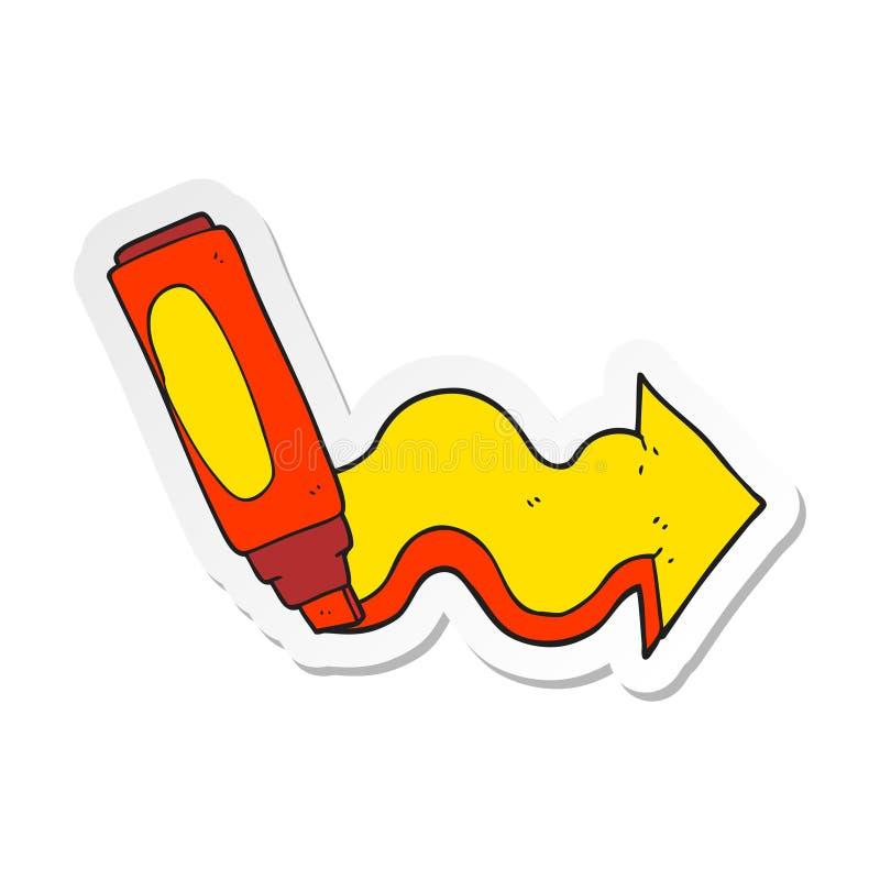 Sticker of a cartoon marker pen drawing arrow. A creative illustrated sticker of a cartoon marker pen drawing arrow vector illustration