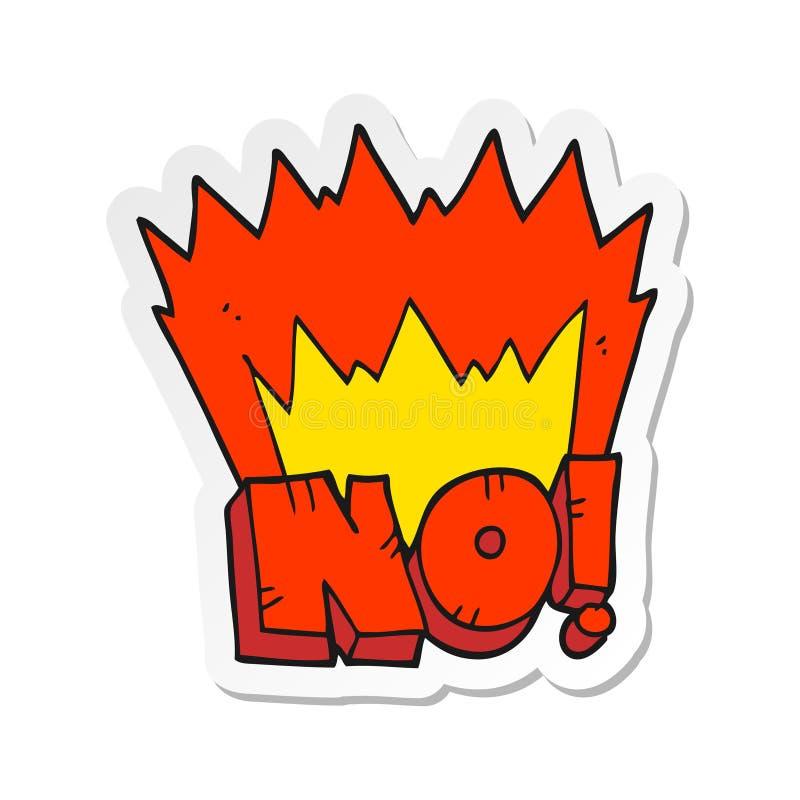 sticker of a cartoon NO shout stock illustration