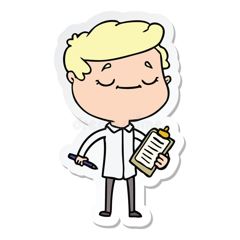 Sticker of a cartoon peaceful man. A creative illustrated sticker of a cartoon peaceful man stock illustration