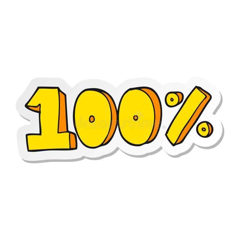 Sticker of a cartoon 100 per cent symbol. A creative sticker of a cartoon 100 per cent symbol vector illustration