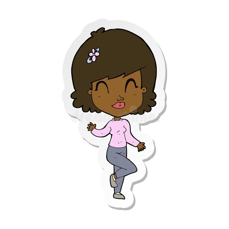 Sticker of a cartoon pretty woman dancing. A creative illustrated sticker of a cartoon pretty woman dancing vector illustration