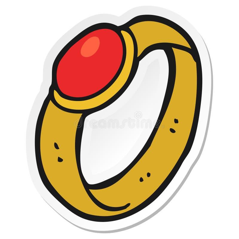 Sticker of a cartoon ruby ring. A creative illustrated sticker of a cartoon ruby ring vector illustration