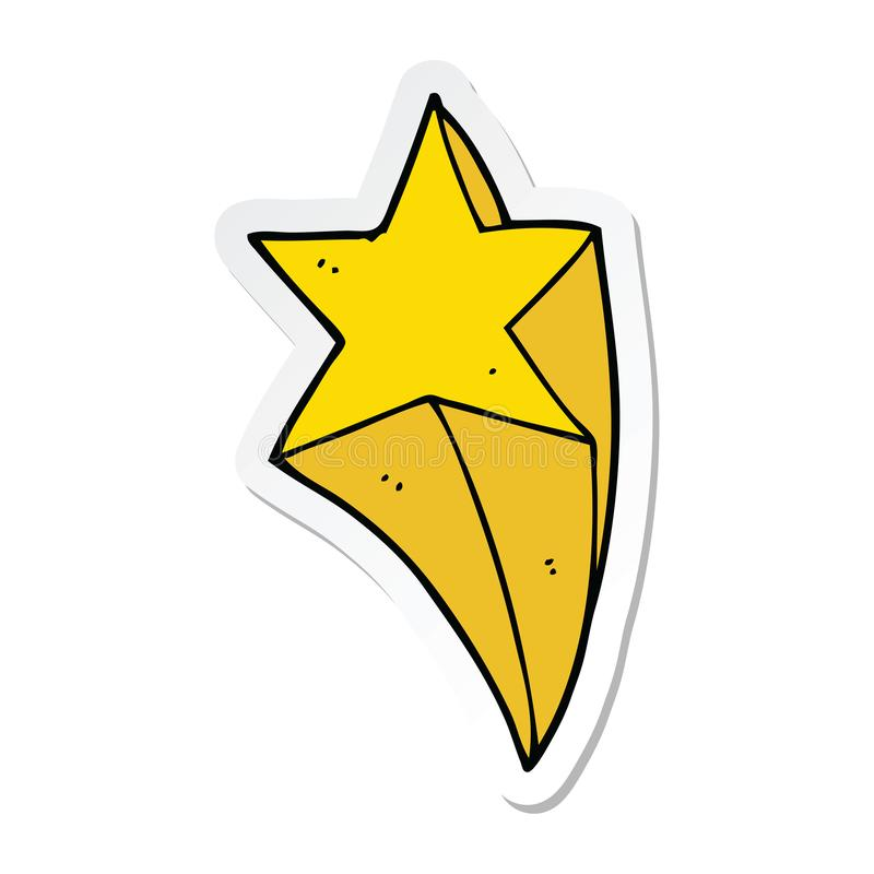 sticker of a cartoon shooting star royalty free illustration
