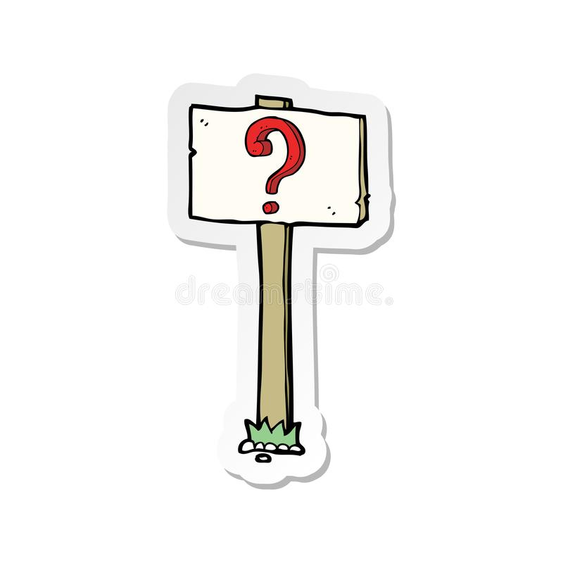 Sticker of a cartoon signpost with question mark. A creative sticker of a cartoon signpost with question mark vector illustration