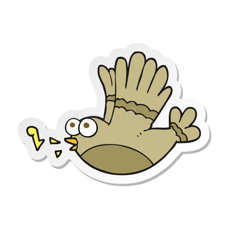 Sticker of a cartoon singing bird. A creative illustrated sticker of a cartoon singing bird stock illustration