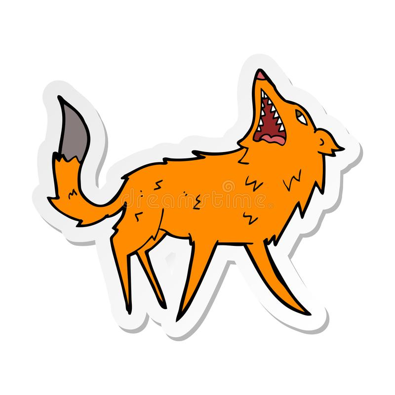 Sticker of a cartoon snapping fox. A creative illustrated sticker of a cartoon snapping fox royalty free illustration