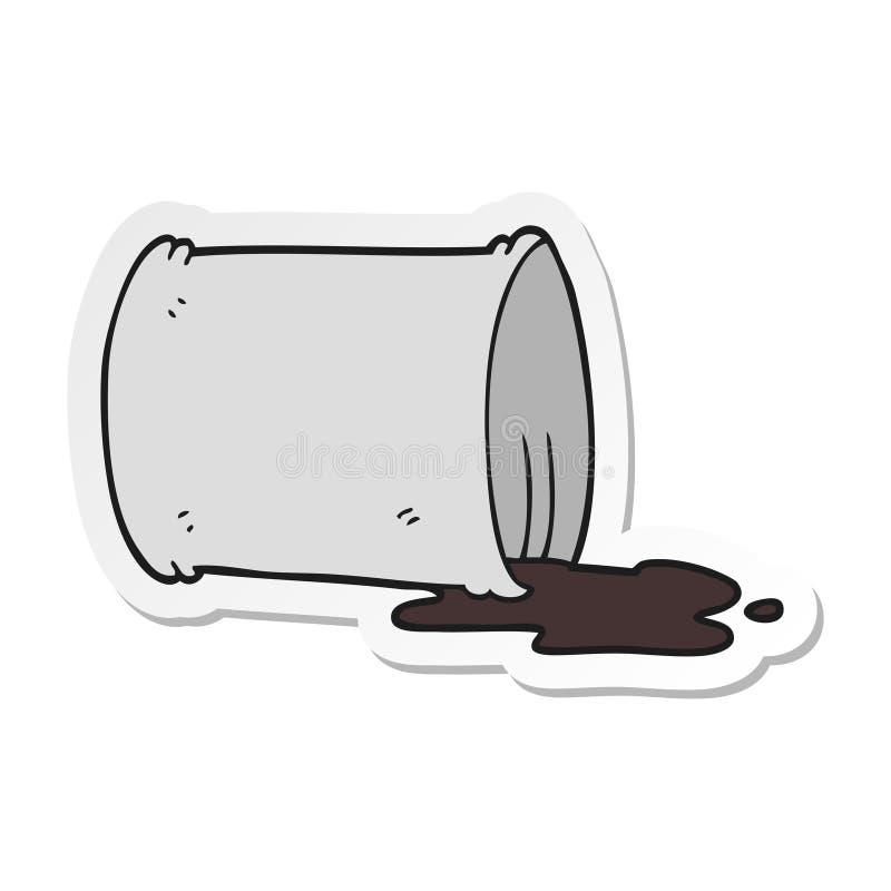 Sticker of a cartoon spilled oil drum. A creative illustrated sticker of a cartoon spilled oil drum vector illustration