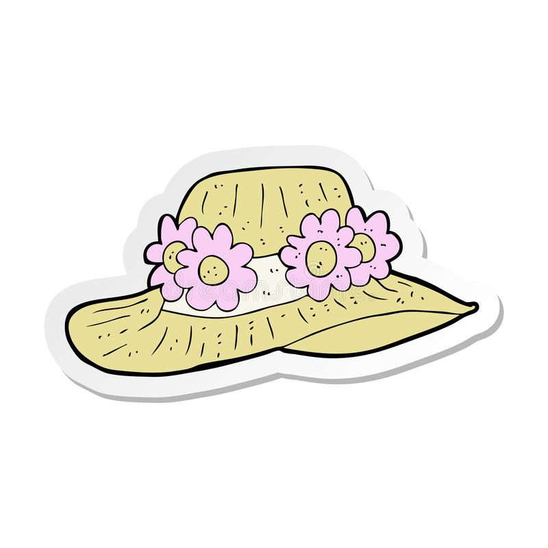 sticker of a cartoon summer hat stock illustration