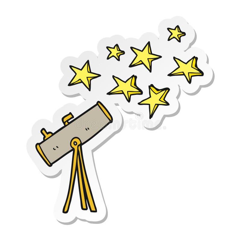 sticker of a cartoon telescope and stars stock illustration