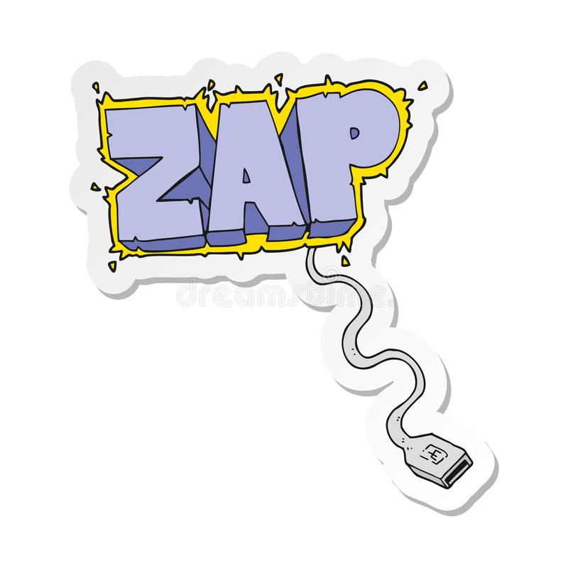 Sticker of a cartoon usb cable. A creative illustrated sticker of a cartoon usb cable stock illustration